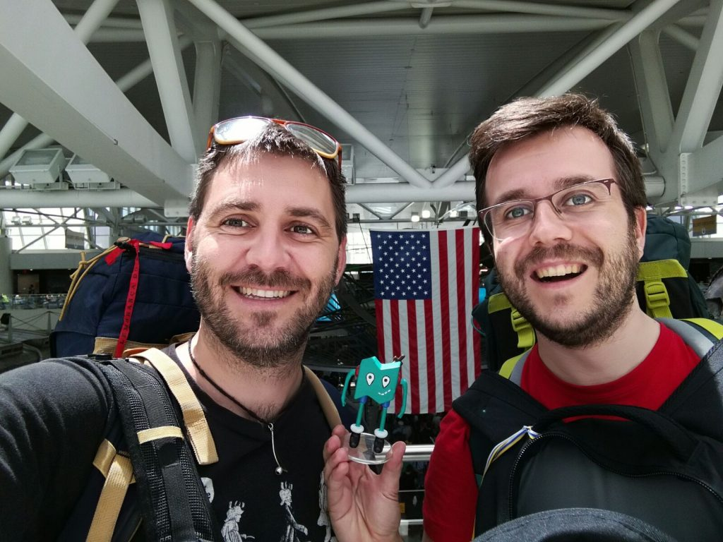 Tripi and Álvaro at JFK